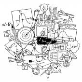 Mathematics science theme Hand drawn pattern about school and learning in doodle style