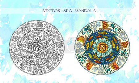 Ethnic colorful mandalas with ornament, fishes, waves, wind and ships.