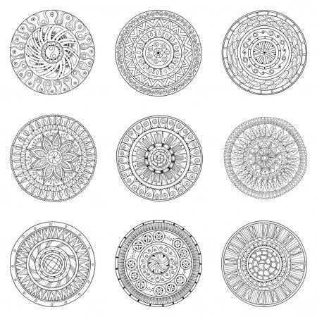 Set of hand drawn circles, vector logo design elements. Doodle style. Style Circle mandala vector black and white background. Ornamental Round Pattern.