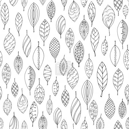Illustration for Autumn white and black seamless stylized leaf pattern in doodle style. Seamless decorative template texture with leaves. Used clipping mask for easy editing. - Royalty Free Image