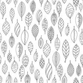 Autumn white and black seamless stylized leaf pattern in doodle style Seamless decorative template texture with leaves Used clipping mask for easy editing