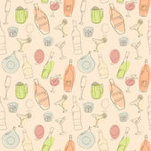 Wine and cocktail seamless background Holiday pattern with wine bear bottles and cocktails Colored version