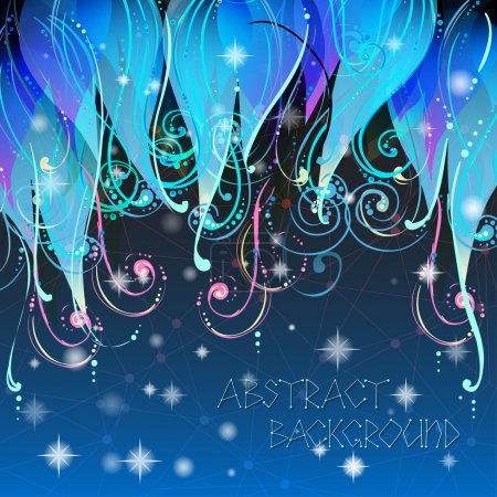 Illustration for Fairy tale elegant abstract background illustration in vector with swirls, stars and dots. Used clipping mask for easy editing. - Royalty Free Image