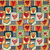 Geometric pattern Template frame design for card with set of abstract doodle hearts and flowers in rectangles Colored version Used clipping mask for easy editing