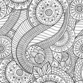 Seamless doodle flower black and white retro background pattern in vector