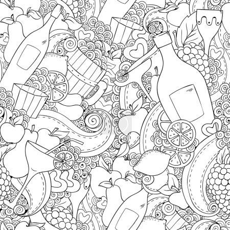 Illustration pour Vin et cocktail fond sans couture. Modèle de vacances avec des cœurs d'amour, vin, raisins, pommes, poires, citron, ours et saucisses. Fond de vacances coloré avec place pour votre texte . - image libre de droit