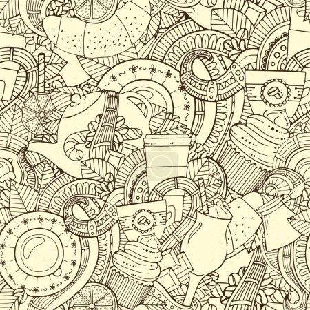 Illustration pour Café Carnet Croquant Doodles. Illustration vectorielle dessinée à la main. Café, petit déjeuner, thé, invitation, amour fond sans couture. Modèle de conception de café et de thé . - image libre de droit