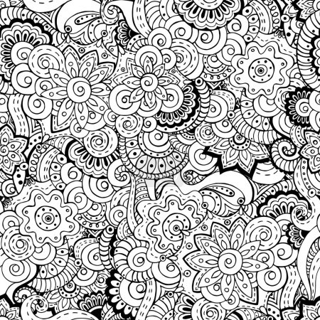 Illustration for Seamless asian floral retro background pattern in vector. Henna paisley mehndi doodles design ethnic pattern. Used clipping mask for easy editing. Black and white version. - Royalty Free Image