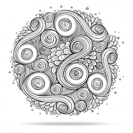 Illustration for Asian ethnic floral retro doodle background pattern circle in vector. Henna paisley mehndi doodles design tribal design element. Black and white. - Royalty Free Image
