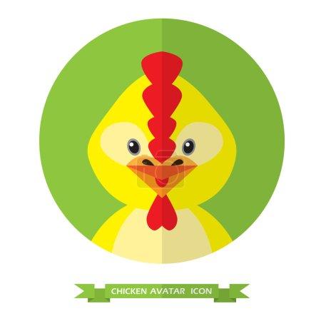 Chicken flat icon on green background.