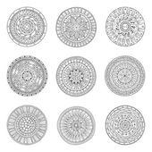 Round geometric ornaments set of had drawn doodle mandalas Circle lace ornament round ornamental geometric doily pattern collection Black and white