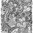 Ethnic floral zentangle, doodle background pattern circle in vector. Henna paisley mehndi doodles design tribal design element. Black and white pattern for coloring book for adults and kids