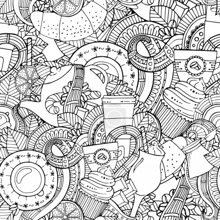 Coffee and tea doodle background in vector with paisley. Seamless zentangle pattern can be used for menu, wallpaper, pattern fills, coloring books and pages for kids and adults. Black and white.