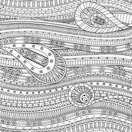 Doodle pattern with doodles and ethnic pattern.