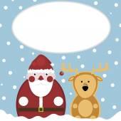 Santa and Deer Snow New Year