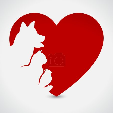 Cat and Dog. Red Heart