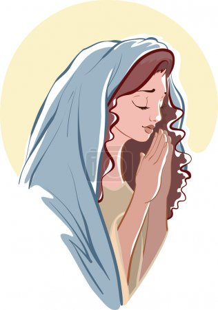 vector illustrations of praying virgin Mary isolated on white