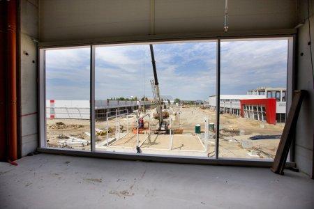 Building site through window