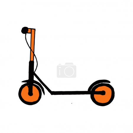 Illustration for Electric scooter icon. hand drawn doodle. vector, minimalism transport - Royalty Free Image