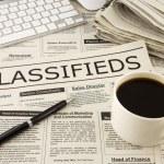 Постер, плакат: classifieds ads on newspaper