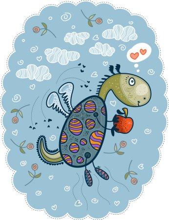 Photo pour Petit dragon vole dans le ciel parmi les nuages, les cœurs et les fleurs avec des rêves de pomme sur son amour - image libre de droit
