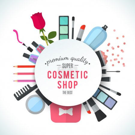 Photo for Professional quality cosmetics shop stylish logo. Accessories and cosmetics. Luxury cosmetics symbol. Organic store. Natural products. Elegant collection of treatment items. Flat illustration - Royalty Free Image