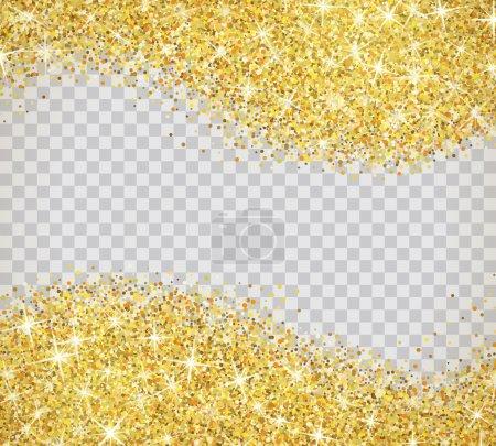Illustration pour Texture or paillettes isolée sur fond transparent. Illustration vectorielle pour fond doré scintillant. Sparkle sequin tinsel yellow bling. Pour la carte-cadeau de vente, bon de certificat éclatant - image libre de droit