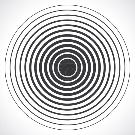 Illustration for Concentric circle elements. Vector illustration for sound wave. Black and white color ring. Circle spin target. Radio station signal. Center minimal radial ripple line outline abstractionism - Royalty Free Image