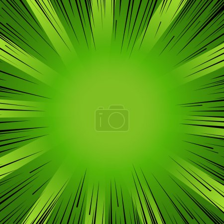 Illustration for Abstract comic book flash explosion radial lines background. Vector illustration for nature design. Bright black green light strip burst. Flash ray blast glow Manga cartoon hero eco spring print - Royalty Free Image