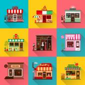 Set of flat shop building facades icons with shadow