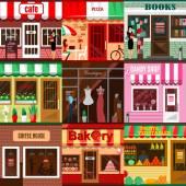 Set of flat shop building facades icons