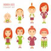 Set of cute pretty women age flat icons