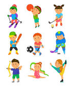 Cartoon sport kids Vector illustration for children game design Boy girl isolated on white background Set of cute bright school child clip art Football soccer gymnastics hockey basketball golf