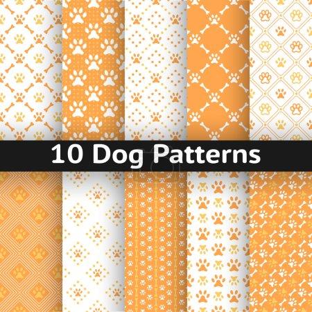 Illustration pour Ensemble de motif vectoriel sans couture de chien de l'empreinte de la patte en répétant losange. Couleurs orange et blanc . - image libre de droit