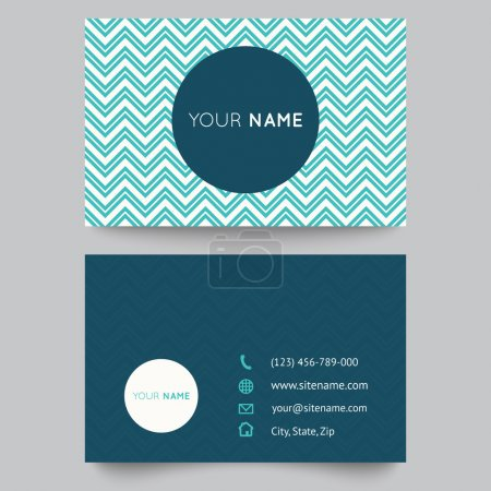Business card template, blue and white pattern vector design