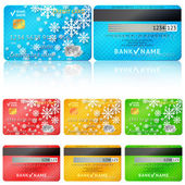 Set of realistic credit card two sides Vector illustration for your business winter holiday design With white snow flakes Blue red green and yellow colors New Year and Christmas theme