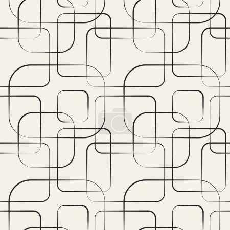 Illustration for Abstract geometric line and square seamless pattern. Vector illustration for modern design. Black, white color. - Royalty Free Image