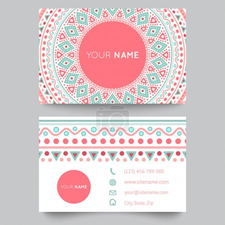 Illustration for Business card template, blue, white and pink beauty fashion pattern vector design editable trible. Vector illustration for modern design. Beautiful ornate pattern. - Royalty Free Image