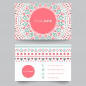 Business card template blue white and pink beauty fashion pattern vector design