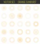 Set of orange sunburst Geometric shapes and light ray collection