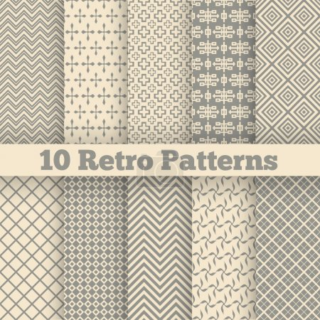 Illustration pour 10 Retro different seamless patterns. Vector illustration for beauty design. Shades of beige color. Endless texture can be used for fawn wallpaper, pattern fill, web page background. - image libre de droit