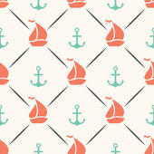 Seamless vector pattern of anchor sailboat shape in frame