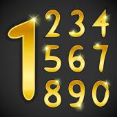 Numbers set in golden style on black background Vector illustration bright design For party poster greeting card banner or invitation Cute numerical icons and signs