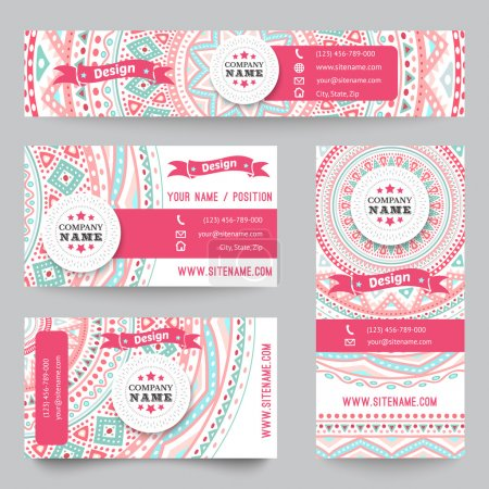 Illustration for Set of corporate identity templates with doodles tribal theme. Vector illustration for pretty design. Ethnic vintage patterns. Pink, blue and white colors. Border, frame, icon elements - Royalty Free Image