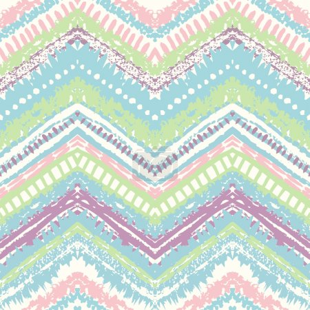 Illustration for Hand drawn painted seamless pattern. Vector illustration for tribal design. Ethnic motif. Zigzag and stripe line. Retro pastel colors. For invitation, web, textile, wallpaper, wrapping paper - Royalty Free Image