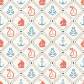 Seamless vector pattern of anchor sailboat shape and line