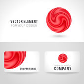 Business card template set abstract red circle background Vector illustration