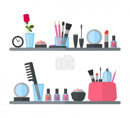 Make up cosmetic accessories on the shelves. Flat design
