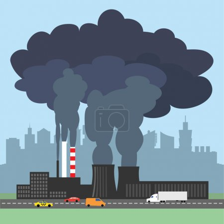 Conceptual vector illustration showing the polluted smoke from factory
