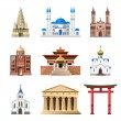 Постер, плакат: Cathedrals churches and mosques building vector set